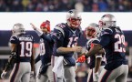 Tom Brady #12 of the New England Patriots celebrates with LeGarrette Blount #29 after throwing a touchdown pass to Julian Edelman #11 (not pictured) during the third quarter against the Pittsburgh Steelers in the AFC Championship Game at Gillette Stadium
